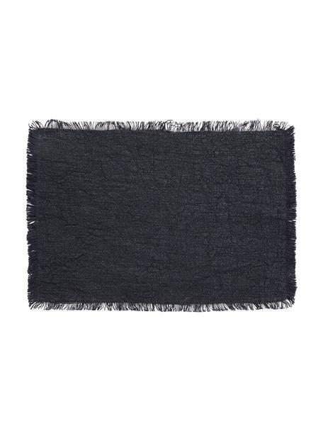 Tovaglietta in cotone blu scuro maculato con frange Atria 2 pz, 100% cotone, Blu scuro, Larg. 33 x Lung. 48 cm