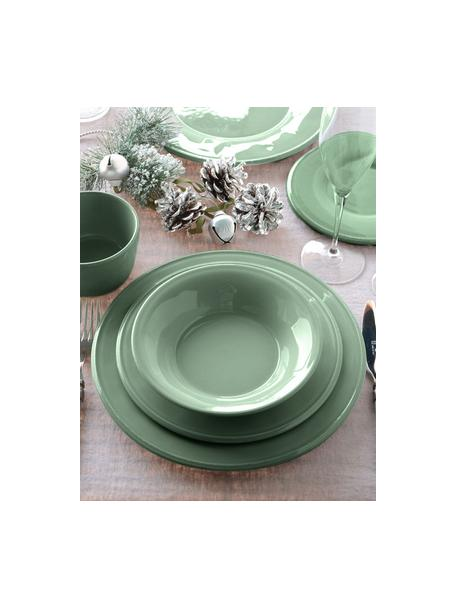 Piatto fondo color verde salvia Constance 2 pz, Gres, Verde salvia, Ø 27