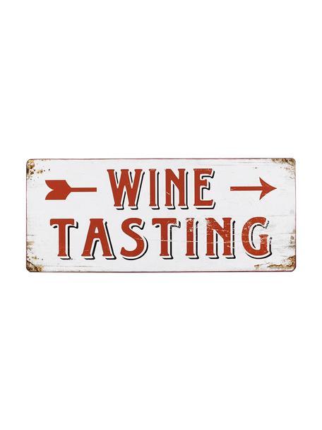 Wandschild Winetasting, Metall, beschichtet, Weiss, Rot, 31 x 13 cm
