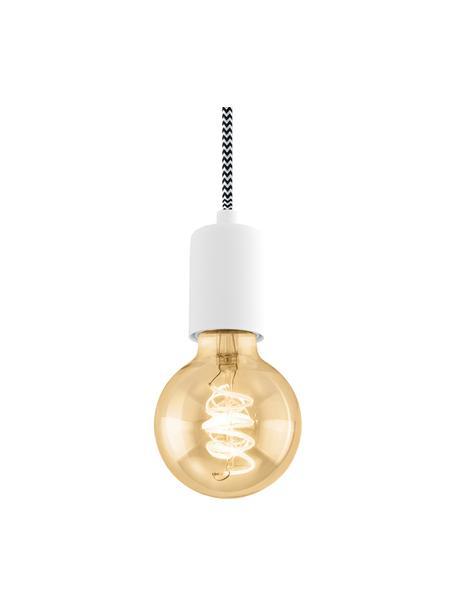 Lámpara de techo pequeña Trey, Anclaje: metal con pintura en polv, Cable: cubierto en tela, Blanco mate, Ø 10 x Al 8 cm