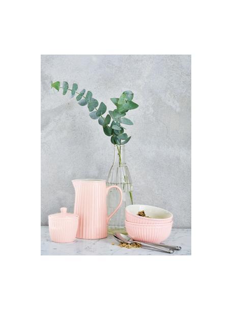 Handgemaakte kommen Alice in roze met reliëfdesign, 2 stuks, Keramiek, Roze, Ø 14 cm