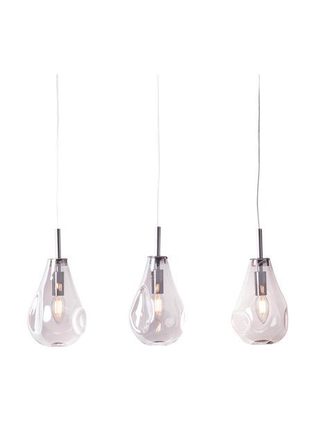 Pendelleuchte Drops aus Glas, Lampenschirm: Glas, Baldachin: Metall, Transparent, Chrom, 61 x 24 cm
