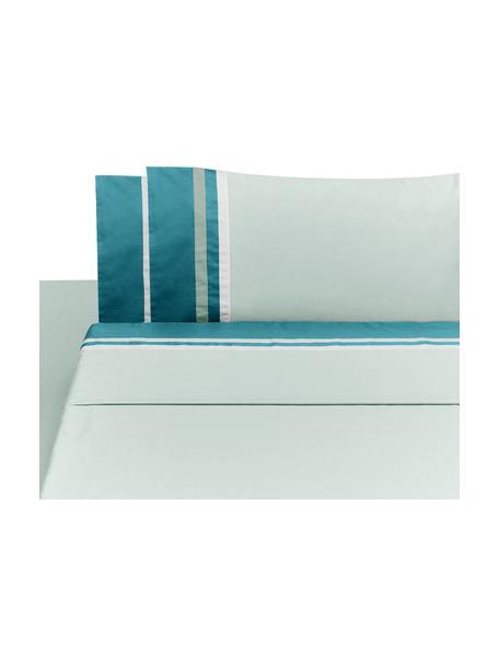 Set lenzuola in raso di cotone Kubric 4 pz, Menta, bianco, 260 x 295 cm + 2 federe 50 x 80 cm + lenzuola 180 x 200 cm