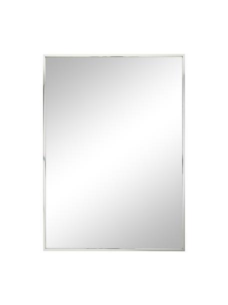 Eckiger Wandspiegel Alpha mit silbernem Aluminiumrahmen, Rahmen: Aluminium, Spiegelfläche: Spiegelglas, Aluminium, 50 x 70 cm