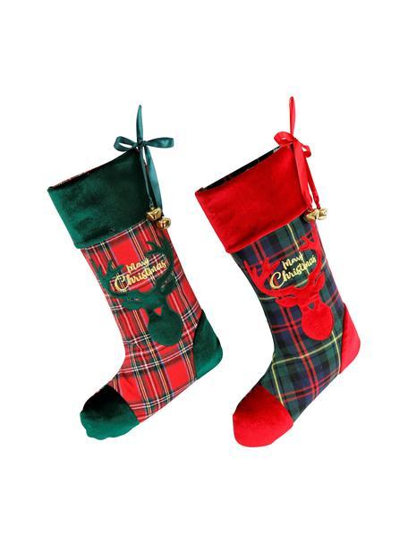 Set 2 oggetti decorativi Merry Christmas, alt. 47 cm, Poliestere, cotone, Verde, rosso, nero, Larg. 26 x Lung. 47 cm