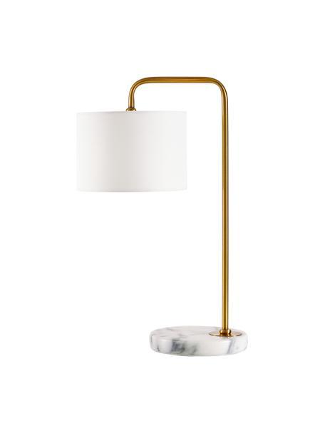 Lampa stołowa z marmurową podstawą Montreal, Stelaż: metal galwanizowany, Biały, odcienie złotego, Ø 20 x W 49 cm