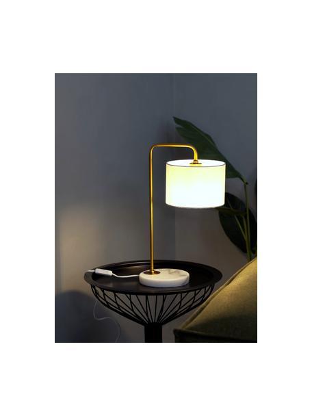 Lampa stołowa Montreal, Stelaż: metal galwanizowany, Biały, odcienie złotego, Ø 20 x W 49 cm