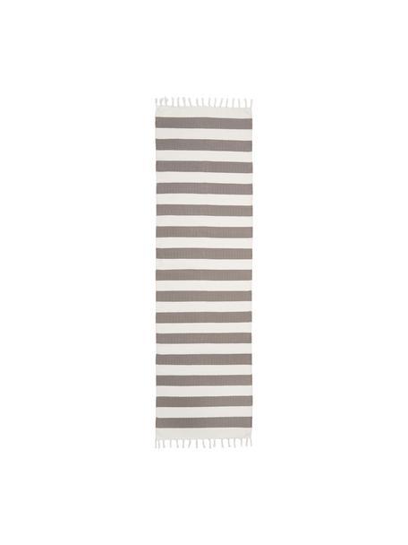 Gestreepte katoenen loper Blocker in grijs/wit, handgeweven, 100% katoen, Grijs, 70 x 250 cm