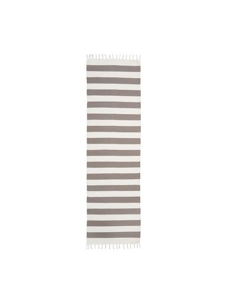 Passatoia in cotone a righe color grigio/bianco tessuta a mano Blocker, 100% cotone, Grigio, Larg. 70 x Lung. 250 cm