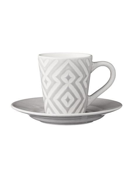 Espressotassen Abella mit Untertassen in Grau/Weiß mit Strukturmuster, 4 Stück, Keramik, Grau, Weiß, Ø 12 x H 7 cm