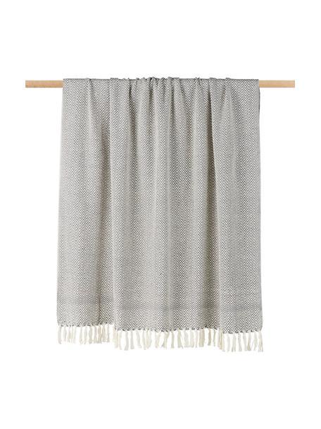Baumwolldecke Zig mit Fischgrätenmuster, 100% Baumwolle, Grau, 130 x 170 cm