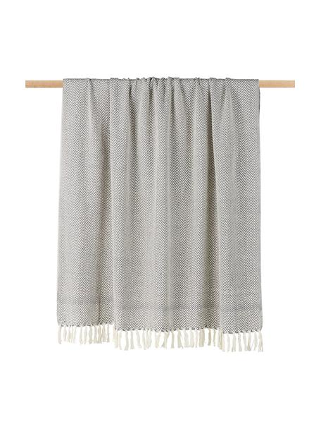 Koc z bawełny Zig, 100% bawełna, Szary, S 130 x D 170 cm