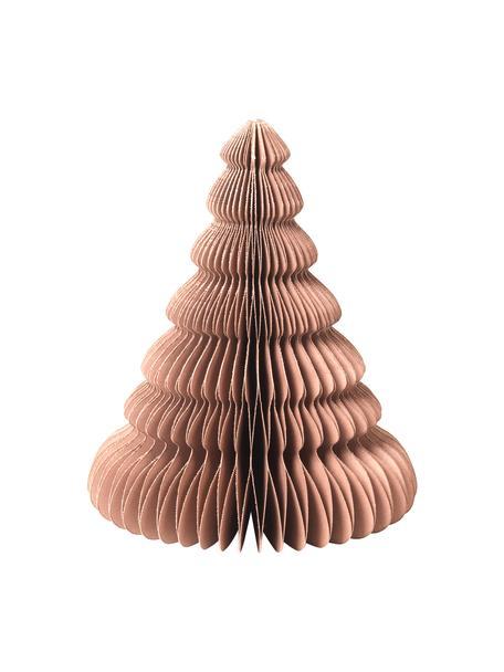 Plissee Baum Paper Pine in Hellbraun H 15 cm, Papier, Hellbraun, Ø 13 x H 15 cm