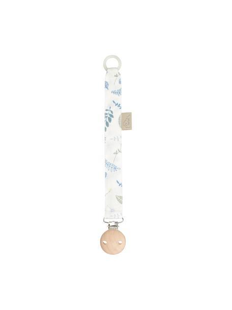 Łańcuszek do smoczka z bawełny organicznej Pressed Leaves, Biały, niebieski, szary, żółty, D 20 cm