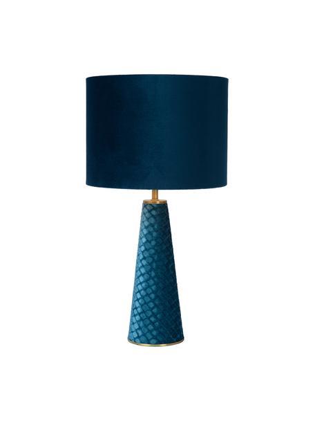 Samt-Tischlampe Extravaganza in Blau, Lampenschirm: Baumwollsamt, Lampenfuß: Baumwollsamt, Dekor: Metall, beschichtet, Türkis, Ø 25 x H 47 cm