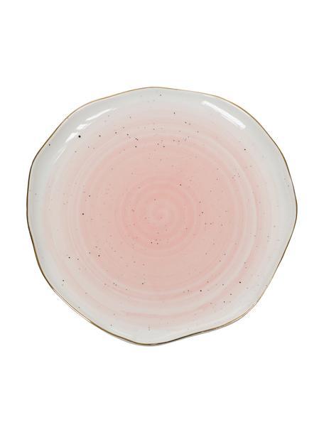 Handgemachte Speiseteller Bella mit Goldrand, 2 Stück, Porzellan, Rosa, Ø 26 x H 3 cm