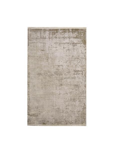 Glanzend vloerkleed Cordoba in beigetinten met franjes, vintage stijl, Bovenzijde: 70% acryl, 30% viscose, Onderzijde: katoen, Beigetinten, B 80 x L 150 cm (maat XS)