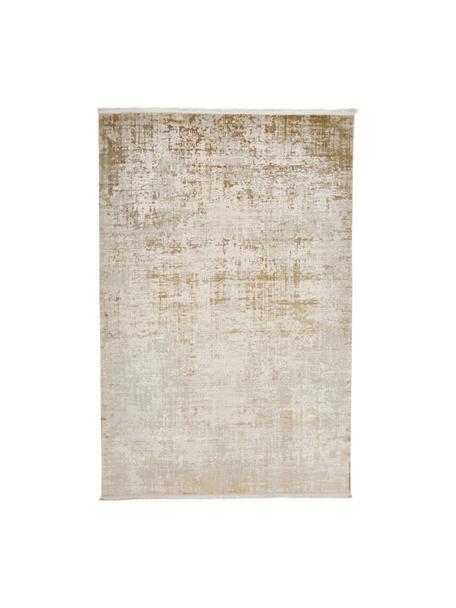 Tappeto vintage tonalità beige effetto lucido con frange Cordoba, Retro: 100% cotone, Tonalità beige, Larg. 80 x Lung. 150 cm (taglia XS)
