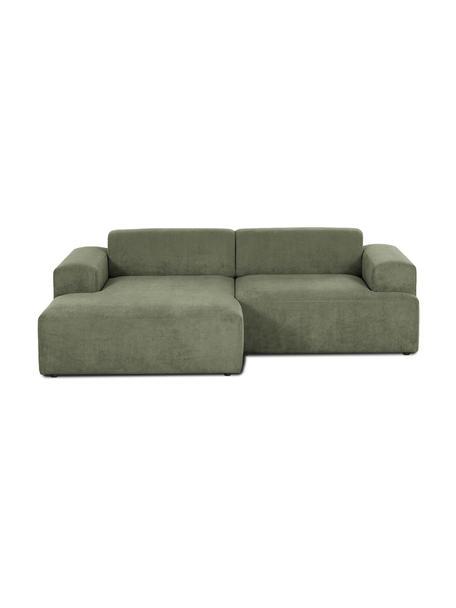 Cord-Ecksofa Melva (3-Sitzer) in Grün, Bezug: Cord (92% Polyester, 8% P, Gestell: Massives Kiefernholz, FSC, Cord Grün, B 239 x T 143 cm