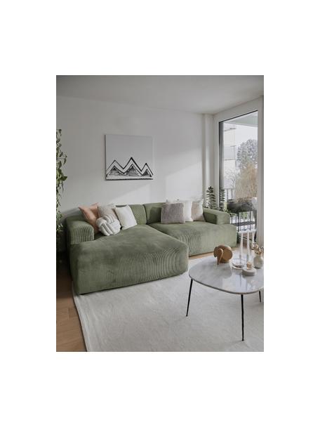 Ribfluwelen hoekbank Melva (3-zits) in groen, Bekleding: corduroy (92% polyester, , Frame: massief grenenhout, FSC-g, Poten: kunststof, Corduroy groen, B 239 x D 143 cm