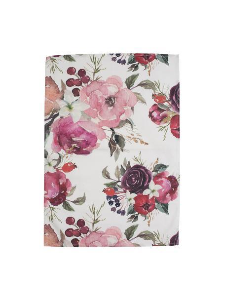 Ręcznik kuchenny z bawełny Florisia, 2 szt., Bawełna, Blady różowy, biały, S 50 x D 70 cm