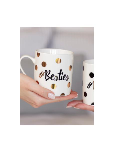 Set 2 tazze da caffè in porcellana Besties, Porcellana, Bianco, nero, dorato, Ø 12 x Alt. 10 cm