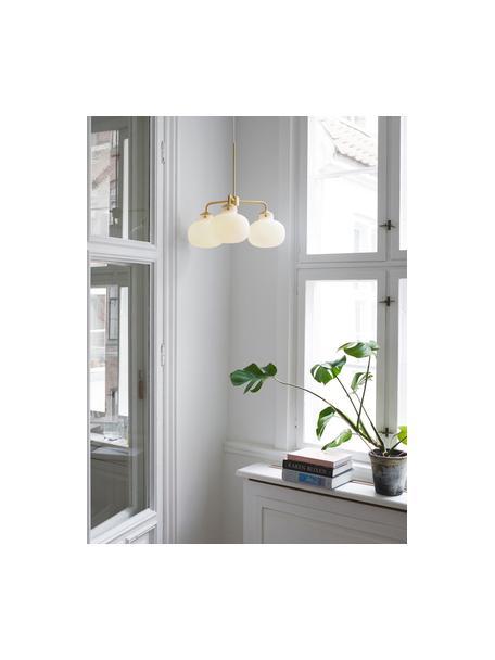 Lámpara de techo Raito, Pantalla: vidrio, Anclaje: plástico, Cable: cubierto en tela, Blanco opalino, latón, Ø 57 x Al 55 cm