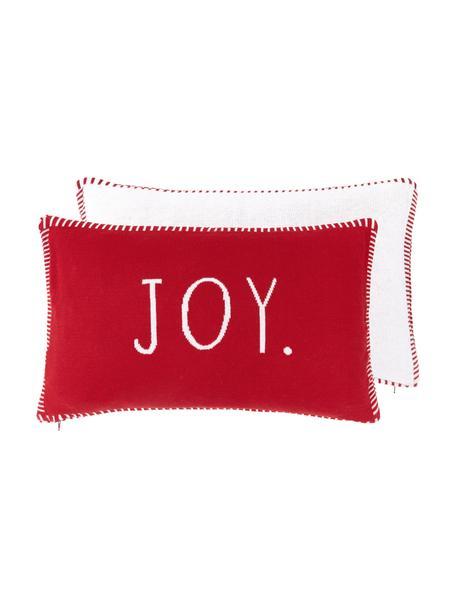 Fijn gebreide dubbelzijdige kussenhoes Jolanda met opschrift, 100% katoen, Rood, crèmewit, 30 x 50 cm
