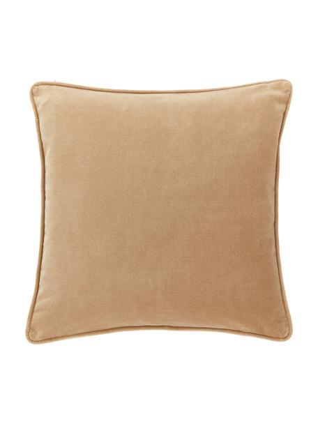 Federa arredo in velluto marrone chiaro Dana, 100% velluto di cotone, Marrone, Larg. 40 x Lung. 40 cm