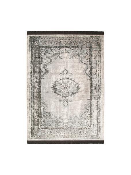 Vintage Teppich Marvel mit Fransen, Flor: 66% Kunstseide, 25% Baumw, Dunkelgrau, Hellgrau, Hellbeige, B 175 x L 240 cm (Größe M)