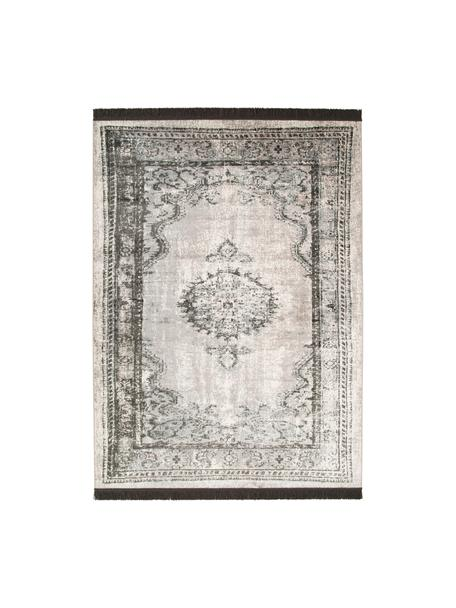 Vintage Teppich Marvel mit Fransen, Flor: 66% Kunstseide, 25% Baumw, Dunkelgrau, Hellgrau, Hellbeige, B 175 x L 240 cm (Grösse M)