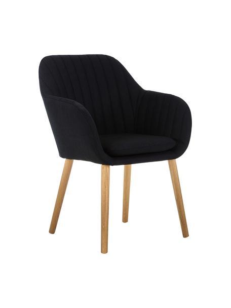 Krzesło tapicerowane z podłokietnikami Emilia, Tapicerka: poliester, Nogi: drewno dębowe, olejowane, Antracytowy, S 57 x G 59 cm