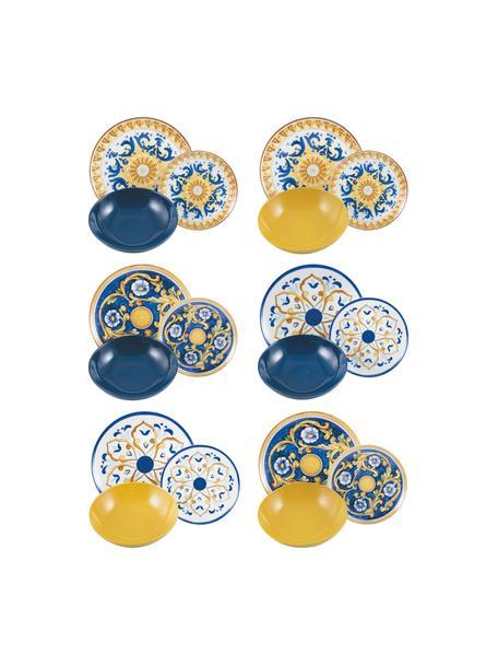 Vajilla Sicilia, 6 personas (18pzas.), Blanco, azul oscuro, amarillo, Set de diferentes tamaños