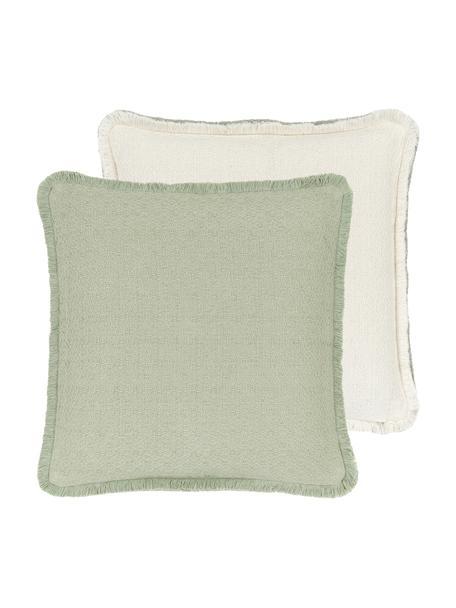 Federa arredo reversibile verde menta con frange Loran, 100% cotone, Verde, Larg. 40 x Lung. 40 cm
