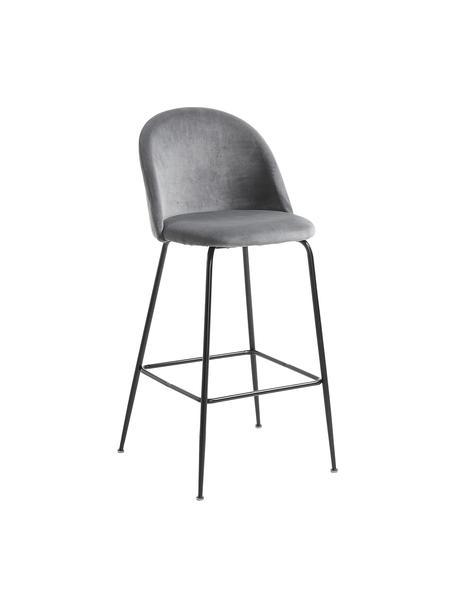 Fluwelen barkruk Ivonne in grijs, Bekleding: polyester fluweel, Frame: gelakt metaal, Grijs, zwart, 53 x 108 cm