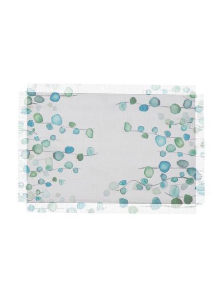 Placemats Eucalyptus, 2 stuks, Kunstvezels, Wit, turquoise, 30 x 45 cm