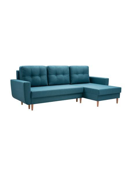 Sofa narożna z funkcją spania i schowkiem Neo (4-osobowa), Tapicerka: 100% poliester, Turkusowoniebieski, S 230 x G 140 cm