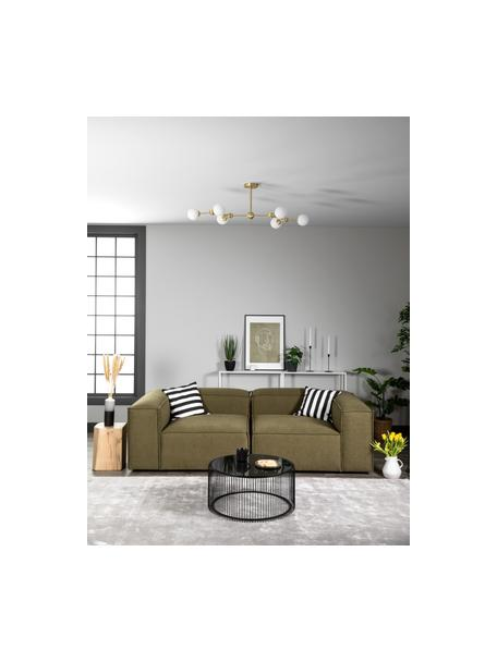 Lampada da soffitto dorata Aurelia, Paralume: vetro opale, Baldacchino: metallo ottonato, Bianco, ottone, Larg. 110 x Alt. 32 cm