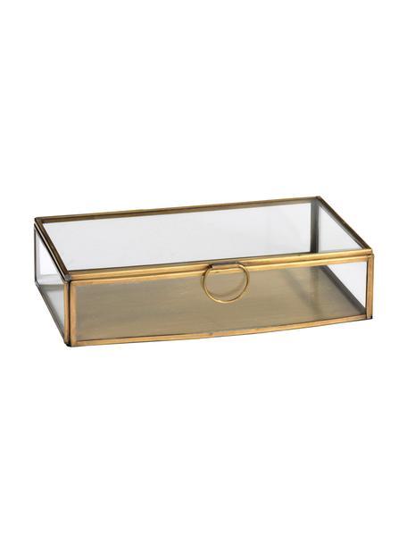Opbergdoos Janni, Messing, glas, Messingkleurig, B 22 x D 13 cm
