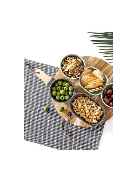 Servierschale Classic in Anthrazit mit Holzgriff, Schale: Porzellan, Griff: Gummibaumholz, Anthrazit, B 35 x T 10 cm