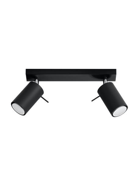 Plafondspot Etna in zwart, Baldakijn: gelakt staal, Zwart, 30 x 15 cm