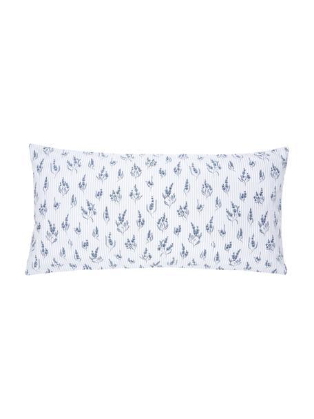 Baumwoll-Kopfkissenbezüge Yane mit Blümchen/gestreift, 2 Stück, Webart: Renforcé Fadendichte 144 , Blau, Weiß, 40 x 80 cm
