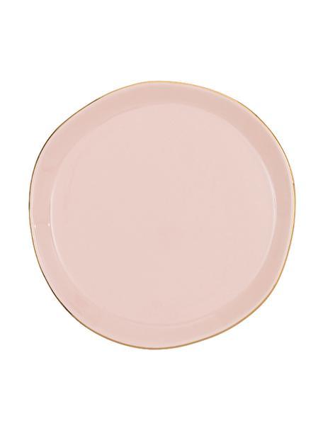 Dessertteller Good Morning in Rosa mit goldfarbenem Rand, Ø 17 cm, Steingut, Rosa, Goldfarben, Ø 17 cm