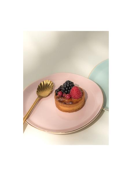 Brotteller Good Morning in Rosa mit Goldrand, Ø 17 cm, Porzellan, Rosa, Goldfarben, Ø 17 cm