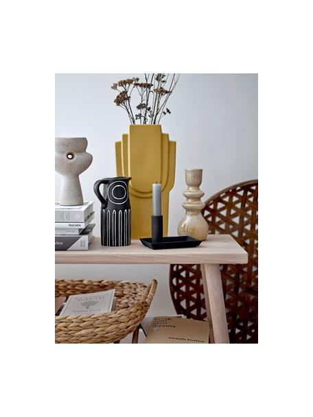 Kandelaar Emie van keramiek, Keramiek, Oranje, geel, Ø 8 x H 19 cm