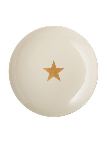 Piatto piano con stella dorata Star, Ceramica, Bianco latteo, dorato, Ø 25 cm
