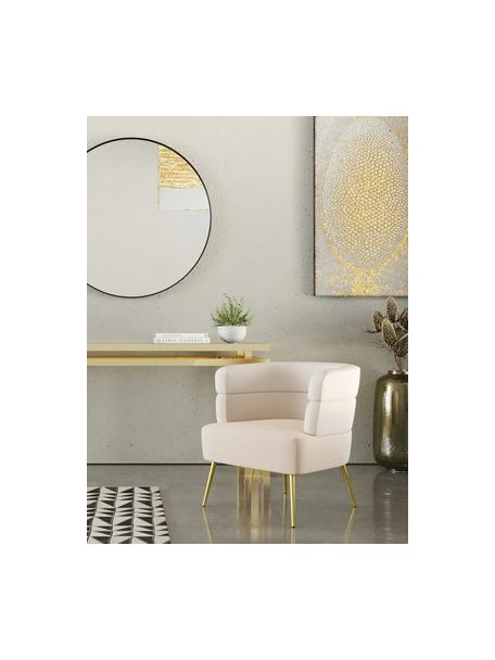 Fluwelen fauteuil Sandwich in retro-design, Bekleding: polyester fluweel, Poten: gecoat metaal, Beige, 65 x 64 cm