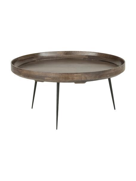 Tavolino da salotto di design Bowl Table, Piano d'appoggio: legno di mango, verniciat, Gambe: acciaio, verniciato a pol, Marrone grigio, Ø 75 x Alt. 38 cm