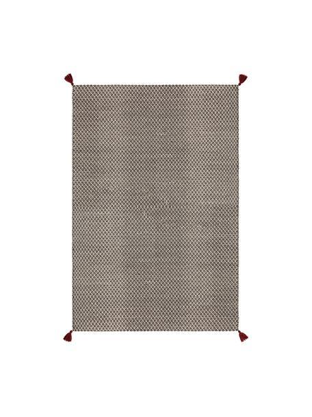 Handgeweven wollen vloerkleed Tolga met donkerrode kwastjes en optisch reliëf, 50% wol, 35% katoen, 15% nylon, Zwart, crèmewit, B 160 x L 230 cm (maat M)