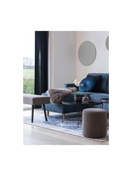Ławka tapicerowana ze sztruksu Skiby, Nogi: stal, Szary, czarny, S 100 x W 44 cm